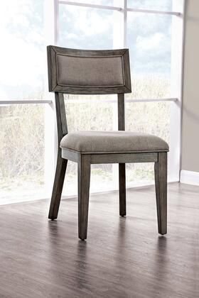 Fabric Upholstered Wooden Side Chair with Paneled Back  Set of 2  Gray