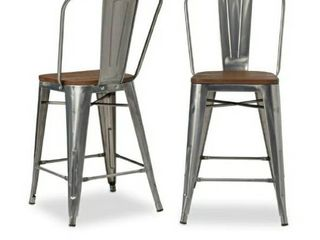 2 pk Tabouret Bistro Counter Stool with Wood Seat Gunmetal 2 pack