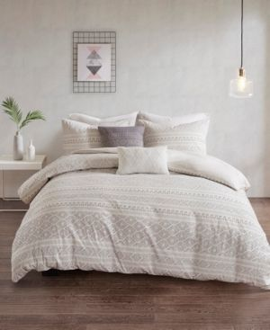 Urban Habitat lizbeth Full Queen 5 Piece Cotton Clip Jacquard Duvet Cover Set Bedding