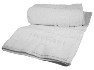 Classic Turkish Towel Greek Key Pattern Hotel Bathmat Gray 20x32 Pack Of 2