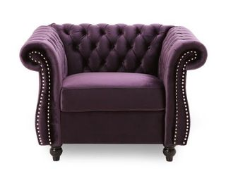 Westminster Chesterfield Velvet Club Chair by Christopher Knight Home   Blackberry Dark Brown