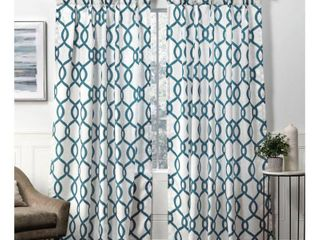 96 x54  Kochi Back Tab light Filtering Window Curtain Panels Teal   Exclusive Home