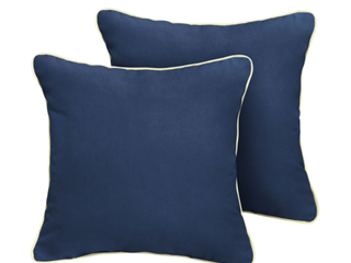 Outdoor Collection 2 Cushions   Outdoor 2 Pillows In Navy With White Piping