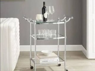 Mayer 3 Teir Chrome and Glass Rolling Serving Cart