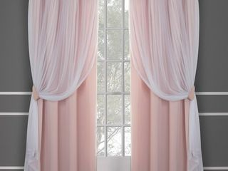 63 x52  Caterina layered Solid Blackout with sheer top curtain panels Blush   Exclusive Home