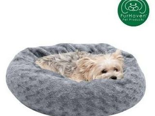 FurHaven Pet Bed   Deep Dish Curly Faux Fur Plush Donut Dog Bed