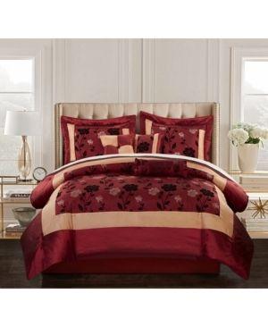 Angela 7 Piece Comforter Set  Burgundy queen