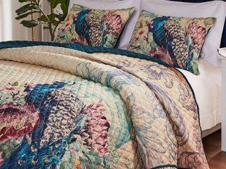 Barefoot Bungalow Eden Peacock 3pc Quilt Set