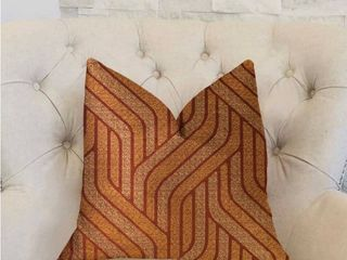 Plutus Twin Overpass Orange luxury Decorative Throw Pillow   Rectangle   double sided 12  x 20    Small