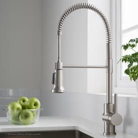 KRAUS BrittIJ Single Handle Commercial Kitchen Faucet with Dual Function Sprayhead in all BriteIJ Spot Free Stainless Steel Finish