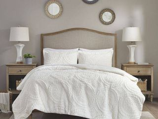 Ivory Alivia Ultra Plush Comforter Mini Set Full Queen