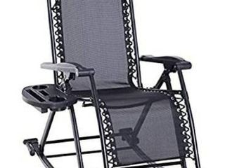 Outsunny Folding Zero Gravity Rocking lounge Chair with Cup Holder Tray actual color is gray
