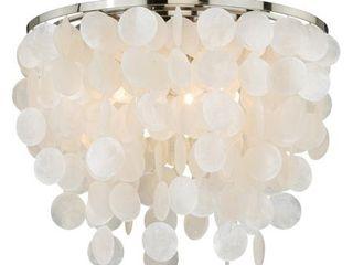 Elsa 16 in W Satin Nickel Capiz Shell Coastal Flush Mount Ceiling light Fixture   16 in W x 13 5 in H x 16 in D  Retail 302 00