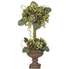 Silk Artichoke Topiary Flower Arrangement as is