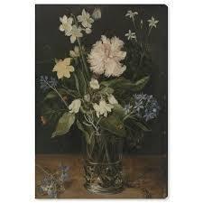 Oliver Gal  Flower Arrangement VI  Floral and Botanical Wall Art Canvas Print   White  Green