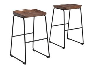 Showdell Contemporary Tall Barstool Set of 2  Brown  Retail 148 49