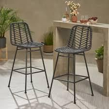 Sawtelle Outdoor Wicker Barstools set of 2 by Christopher Knight Home grey