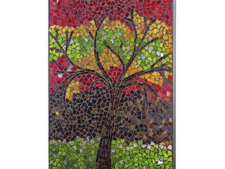 Crushed Glass Mosaic Wall Art   Colorful Tree  Retail 138 49