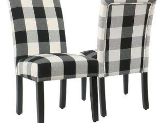HomePop Black Plaid Parsons Dining Chair  Set of 2    Retail 194 00