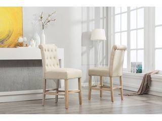 Siena Counter Height Button Tufted Back Solid Wood Stools  Set of 2   Retail 179 99