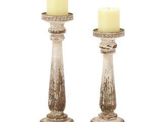 The Gray Barn Joyful Stream Brown Wood Candle Holders  Set of 2