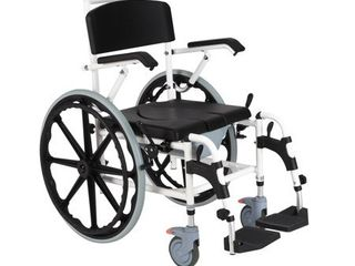 Rolling Shower Wheelchair Bath Toilet Commode Bariatric with 24  Wheels   White   24 25  W x 39 75  D x 36 25 39 75  H  Retail 373 49