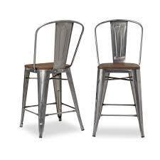 Carbon loft Bistro Wood Seat Gunmetal Finish Counter Stools  Set of 2    Retail 173 84