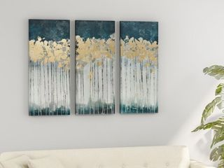 Strick   Bolton Midnight Forest Gold Foil Embellished 3 piece Canvas Set Retail 81 99