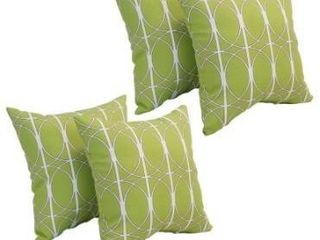 Set of 2  Blazing Needles 17 inch Square Polyester Outdoor Throw Pillows  Set of 2