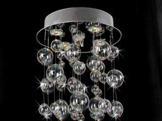 Chrome Ceiling Mount Chandelier with Hand Blown Bubble Glasses Retail 142 99