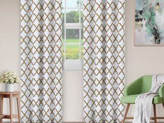 Superior Soft Quality Woven  Bohemian Trellis Blackout Thermal Grommet Curtain Panel Pair