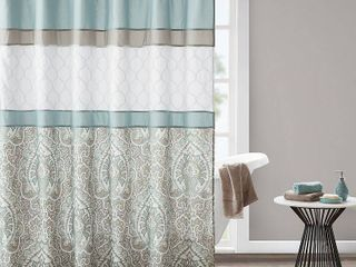 510 Design Josefina Seafoam Printed and Embroidered Shower Curtain