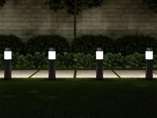 Pure Garden 50 lG1063 Solar Path Bollard 15 in  Stainless Steel Outdoor Stake lighting for Garden   Black   Set of 6