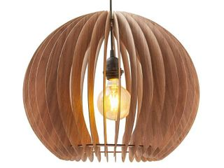 15 5 In  Mid Century Modern Pendant Katana Brown Wood Round Ceiling light Retail 83 99