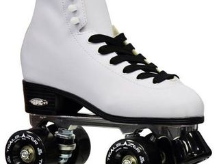Epic Classic White w  Black Wheels High Top Quad Roller Skates w  2 Pair of laces Retail 119 99