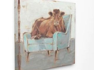 The Gray Barn Brown Bull on a Blue Couch Painting Canvas Wall Art Retail 78 48