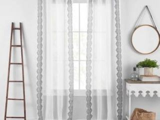 lot of 6 Shilo Boho Sheer Tab Top Window Curtain Panel with Tassels
