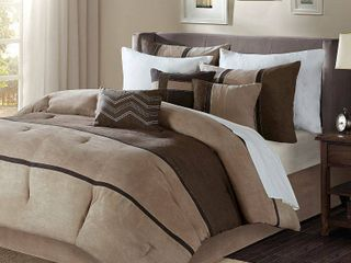 Madison Park Hanover Brown Solid Pieced 7 Piece Comforter Set Retail 119 99
