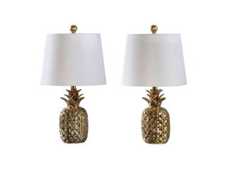 Abbyson Maui Gold Pineapple Ceramic 19 inch Table lamp  Set Of 2  Retail 84 99