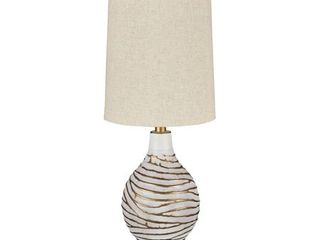 Aleela Contemporary White Gold Textured Metal lamp   21 5  H