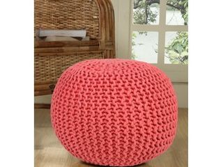lychee Knitted Cotton Round Pouf Ottoman