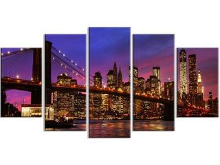 Brooklyn Bridge and Manhattan at Sunset  Cityscape Wall Art on Canvas   Pink Retail 116 49