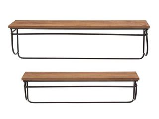 Glitzhome Set of 2 Firwood Metal Farmhouse Floating Wall Shelf Retail:$91.49