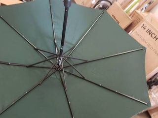 Sunnyglade 9  Solar 24 lED lighted Patio Umbrella with 8 Ribs Tilt Adjustment and Crank lift System  Dark Green  No Base