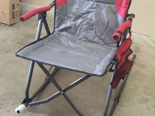 PORTAl Oversized Quad Folding Padded Camping Chair High Back Hard Armrest Storage Pockets Carry Bag Included  Support 300 lbs  Red