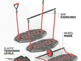 Fusion Motion Portable Gym with 8 Accessories Including Heavy Resistance Bands  Tricep Bar  Ab Roller Wheel  Pulleys