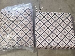 Deep Seat Patio Seat And Back Cushion  Black Geometric  Seat Cushion Is 25in X 25in  Back Is 2ft X 2ft