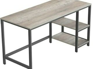VASAGlE AlINRU Computer Desk  55 Inch Writing Desk  with 2 Shelves on left or Right  Stable Steel Frame  Easy Assembly  Greige and Black UlWD55X