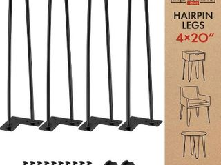 20 Inch Heavy Duty Metal Coffee Table legs with Screws and Hairpin leg Protector Included   4 Piece Set   Pre Drilled Holes for Easy Installation