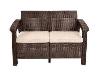 Keter Corfu Resin  Wicker Style  Outdoor loveseat Patio Couch with Washable Cushions   Perfect for Balcony  Deck    Poolside Seating   Brown